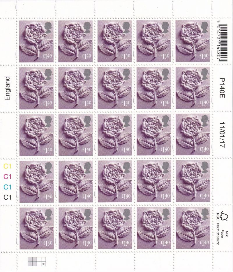 25 x £1.40 England Regional Stamps (20%  off)